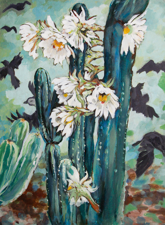 flowering cactus painting, flurry of crows in distance, acrylic artwork, Laura Bonnie