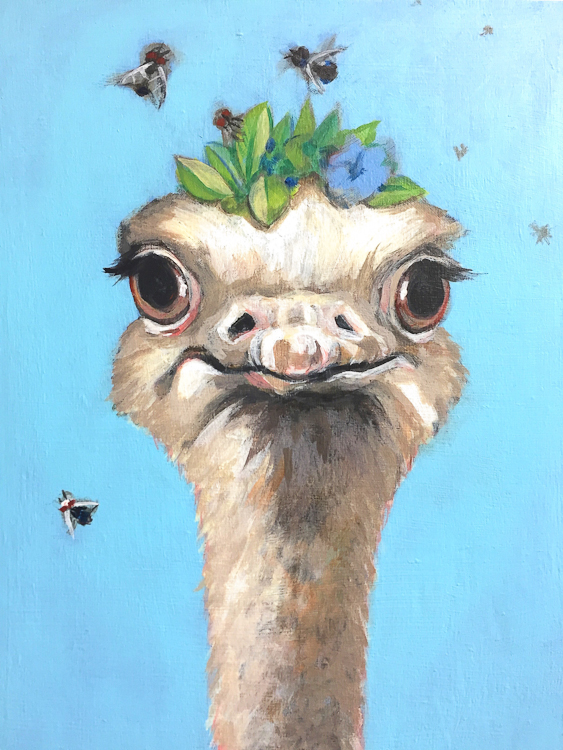 fancy ostrich with leaf crown and flies buzzing around head. acrylic painting from North Park Art Studio, Victoria BC