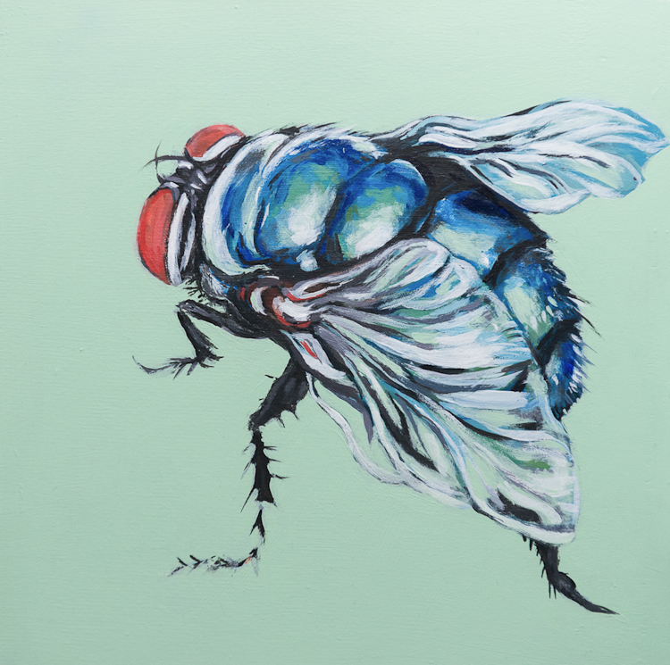 bluebottle fly on emerald background, acrylic painting by Laura Bonnie done at North Park Art Studio