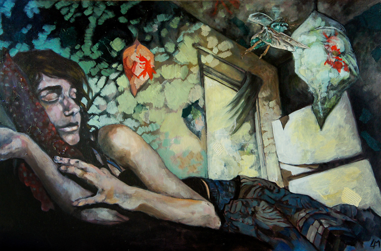 cocoon. surrealist collage and mixed media figurative painting by Laura Bonnie McIntosh. North Park