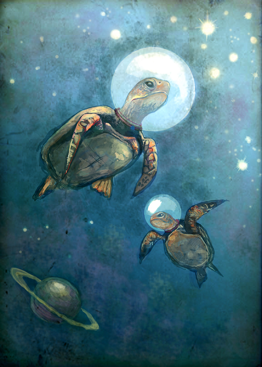 sea turtles with space helmets peacefully drifting through the atmosphere, planets. digital illustration by Laura Bonnie.