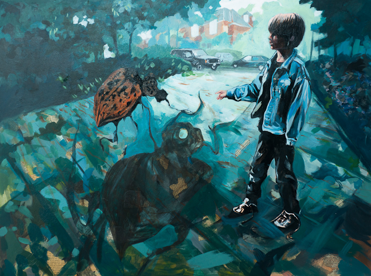 boy summons beetle with magic gesture, shadowy antlers on pavement below, blue driveway scene painting by Laura Bonnie