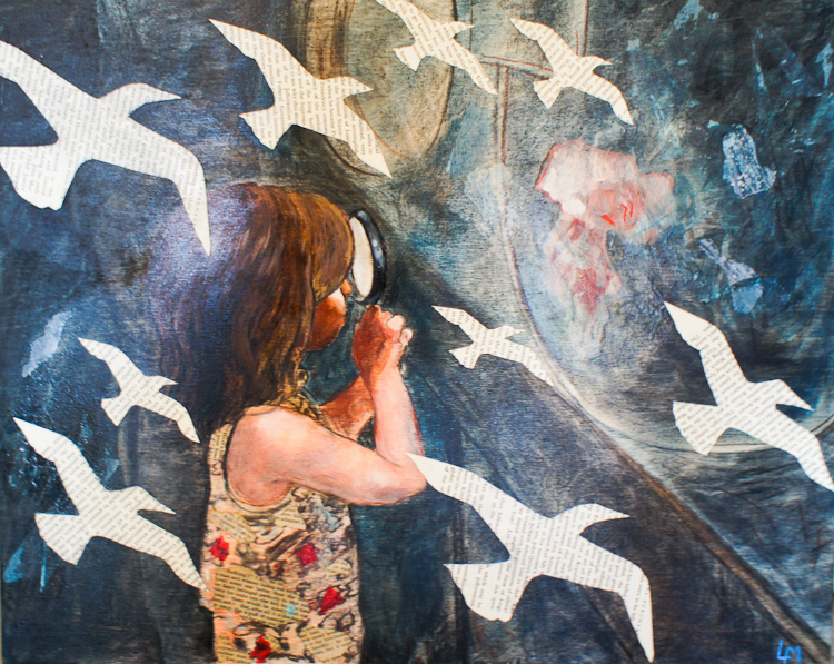 girl with magnifying glass looking at jellyfish. figurative collage painting by Laura Bonnie, North Park Art Studio Victoria BC
