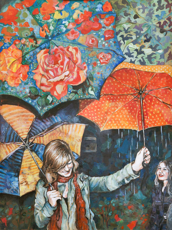 girl holds up colourful patterning of umbrellas against the rain in colourful painting. by Laura Bonnie McIntosh, Commission for Arbutus Coffee Vancouver BC