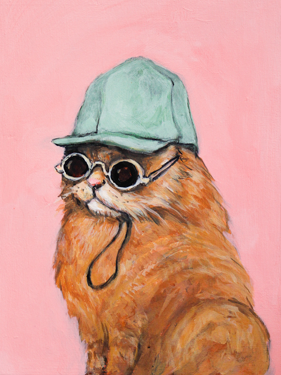 boris the weekend bear. orange cat in a hat and sunglasses on pink background, north park art studio by Laura Bonnie