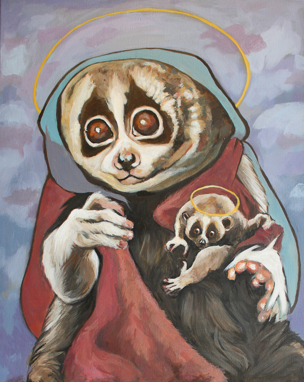 slow loris and child both with haloes painted by Laura Bonnie. Viewable at North Park Art Studio British Columbia
