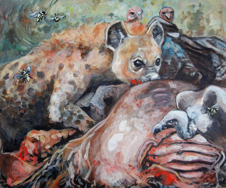 hyena feasts on bones, with vulture in the distance. acrylic animal painting. Laura Bonnie McIntosh