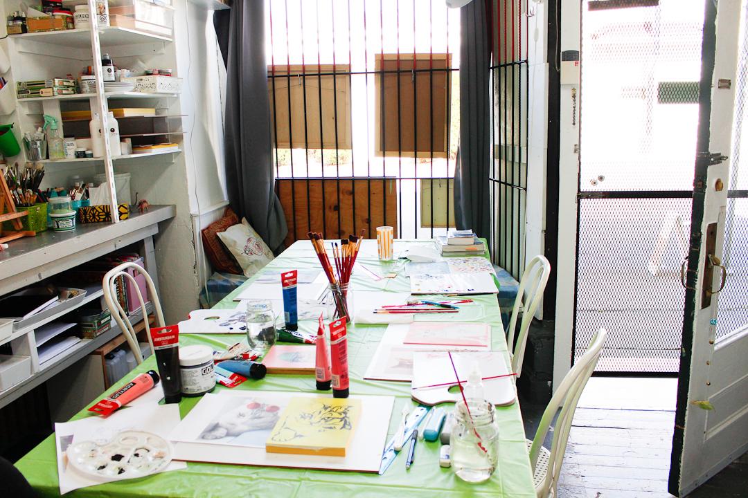 youth workshop setup at north park art studio