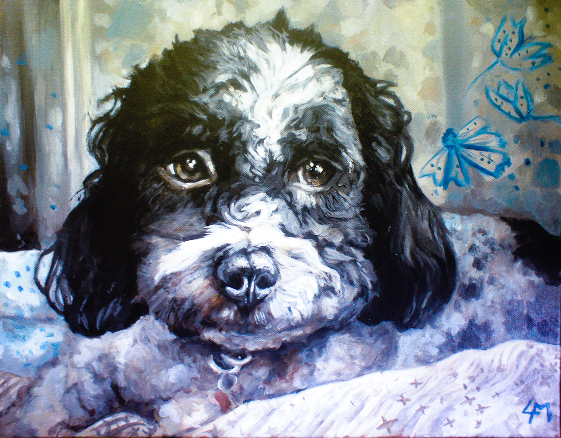Barney the dog, acrylic painting vancouver bc