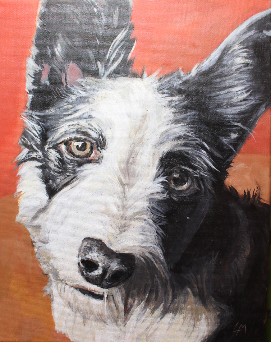 Frodo the dog, acrylic painting by laura bonnie