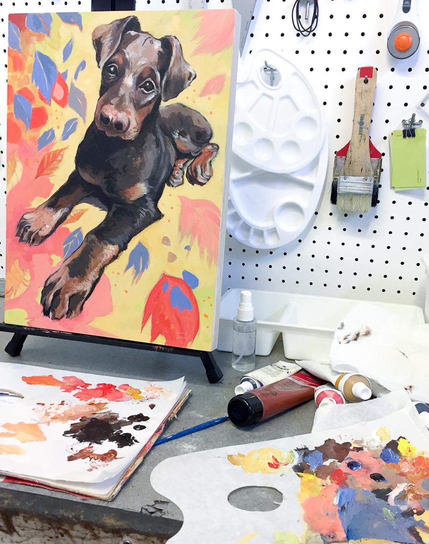 Micky the dog, acrylic portrait work in progress at north park art studio