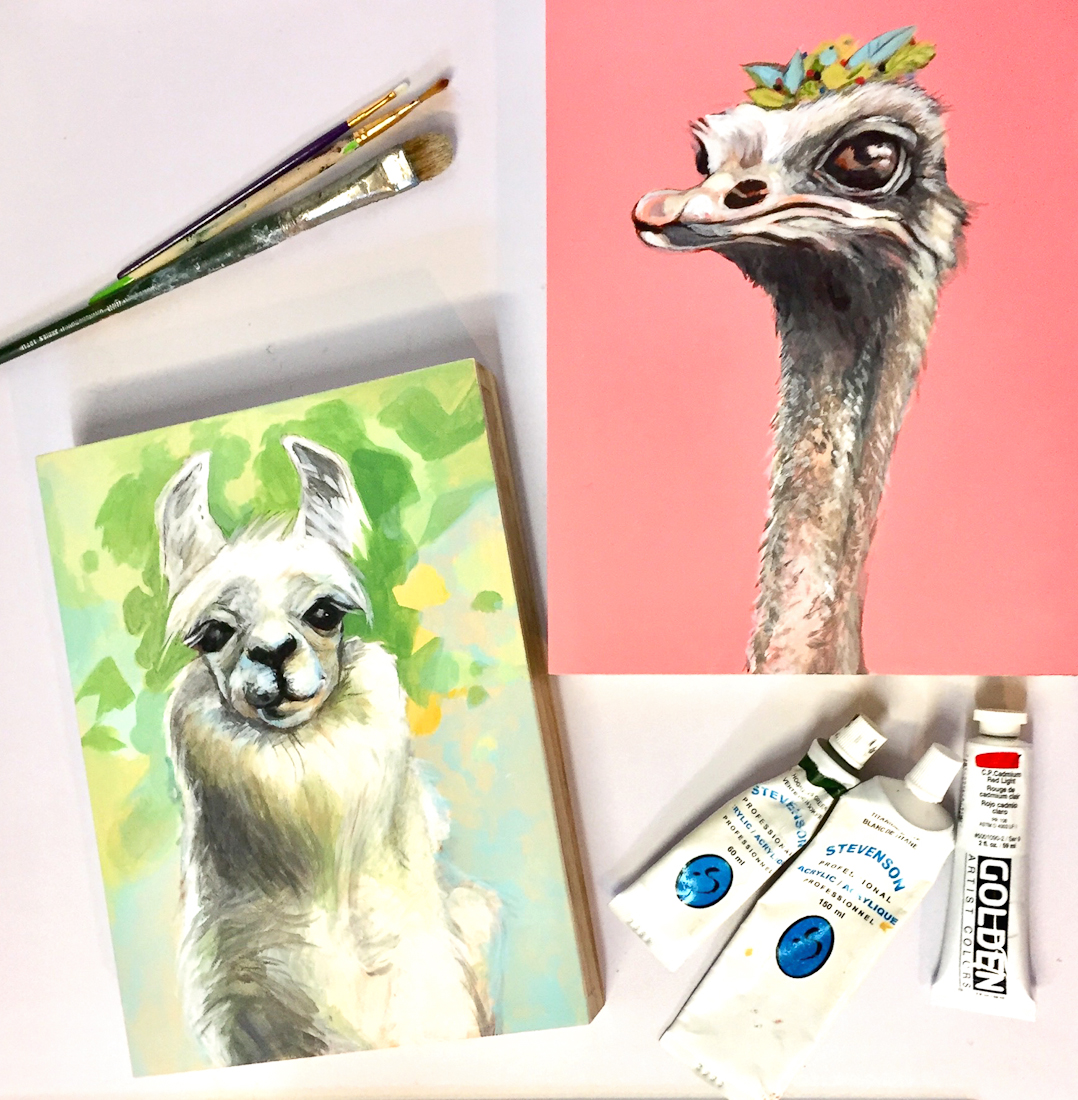 Ostrich and Llama Acrylic paintings for opus art painting demo