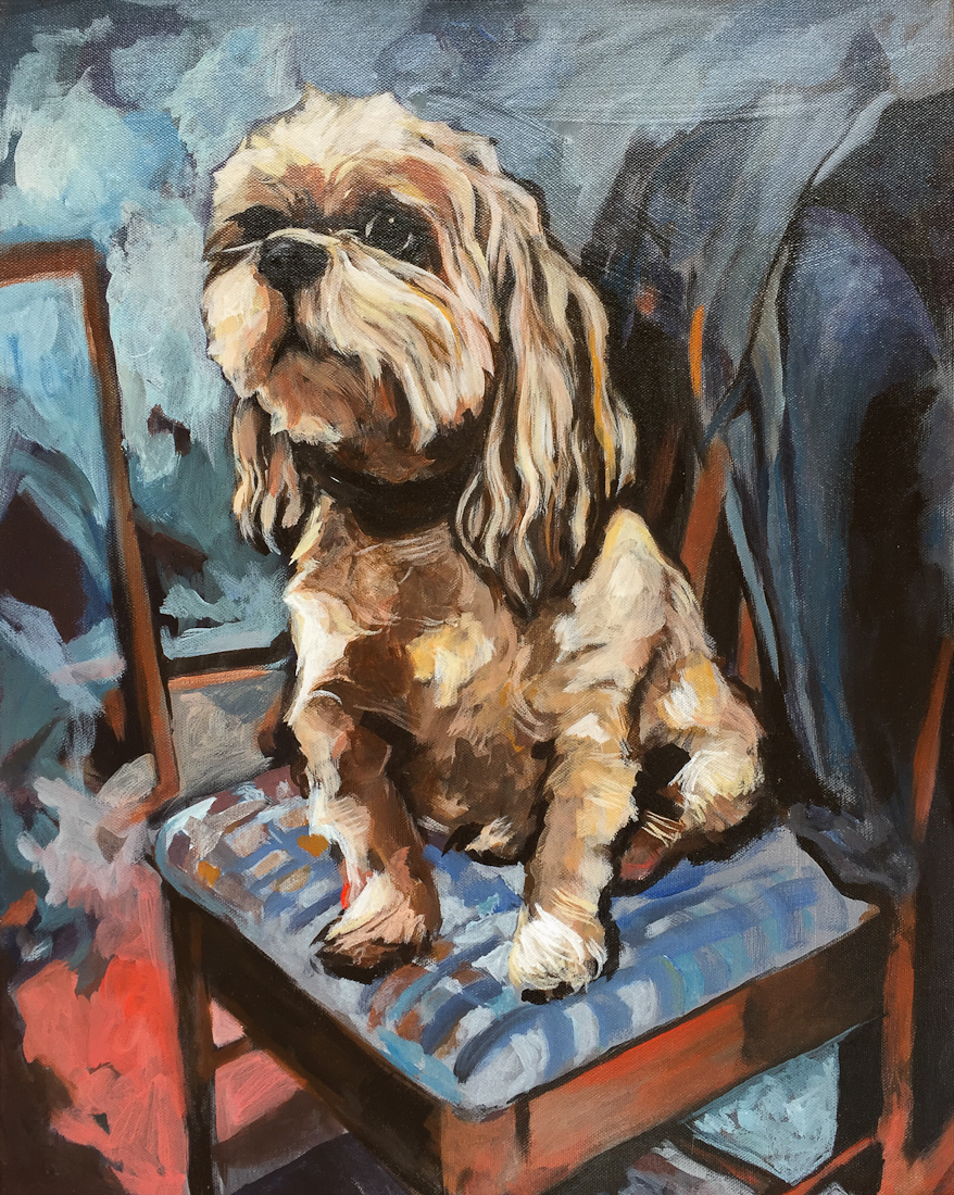 hamish waiting at the table, pet portrait commission