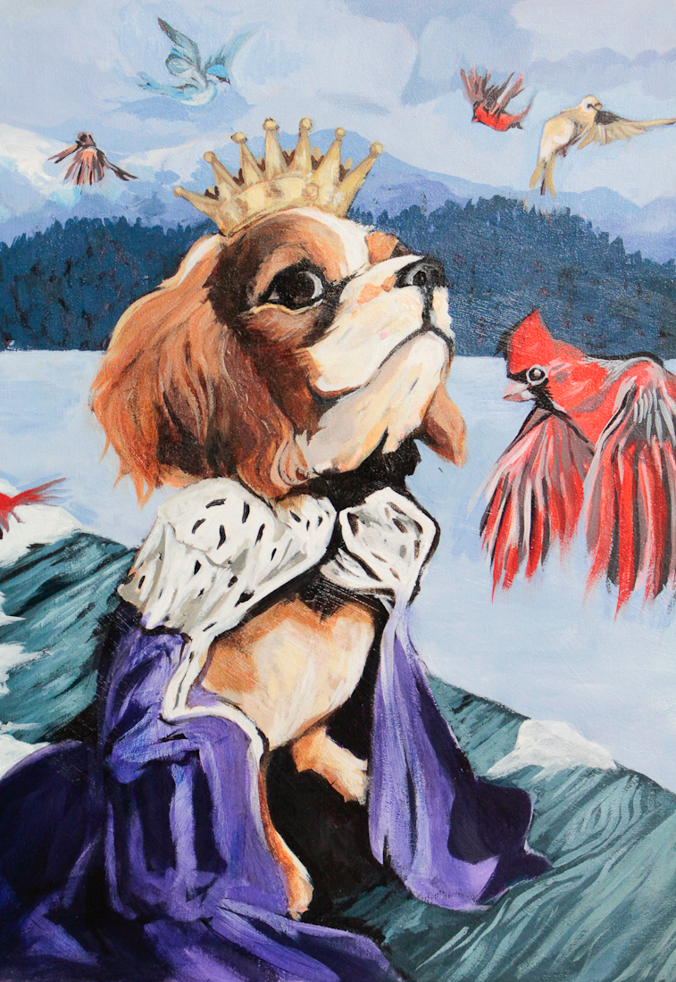George, royal surreal pet portrait with birds, north park art studio