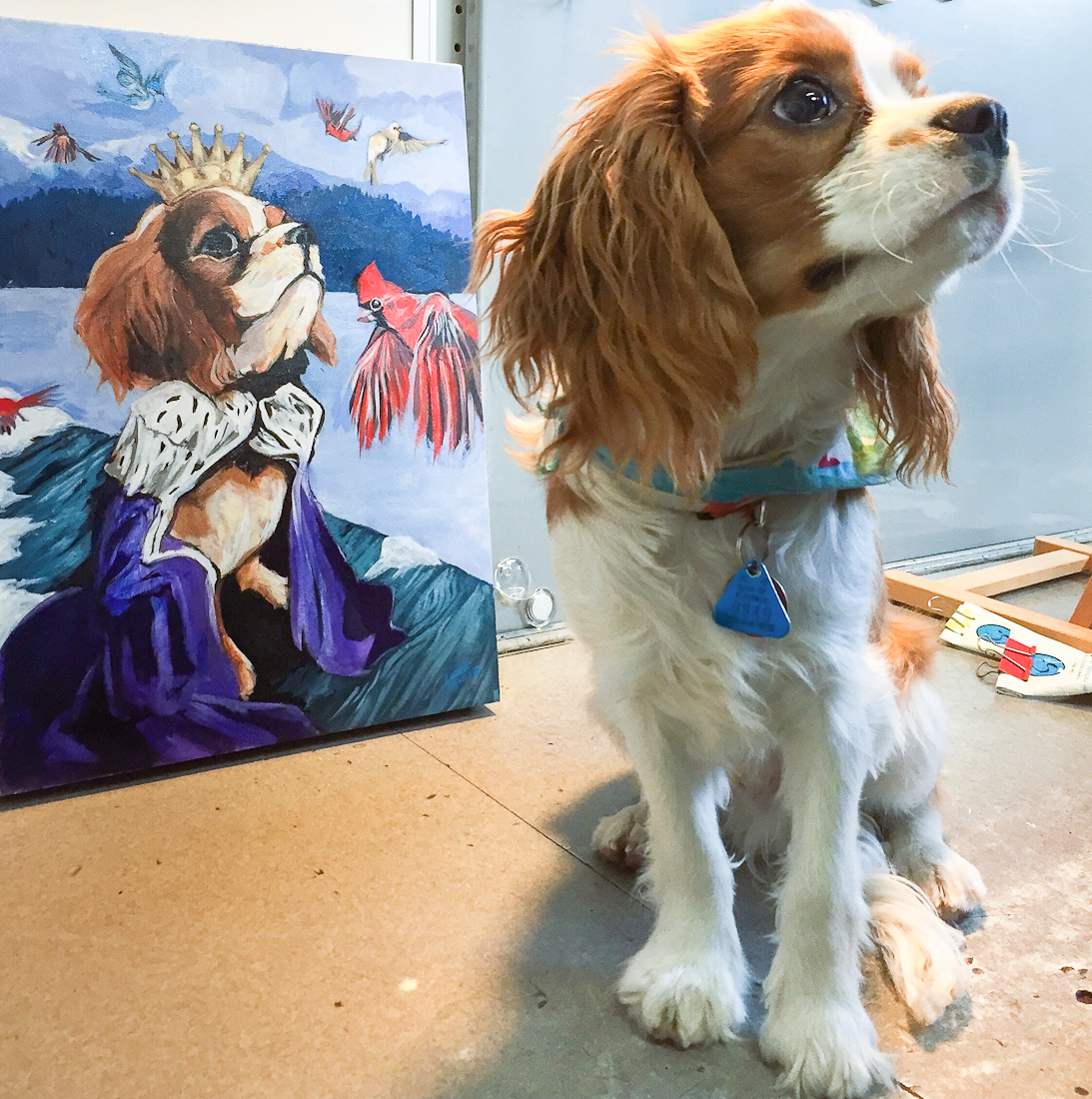 George the sweet pup at the studio with his regal new portrait.