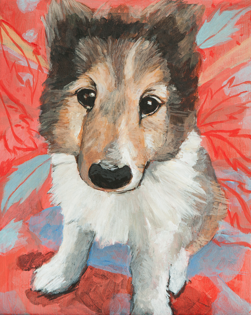 Geordie as a puppy, painting in victoria bc