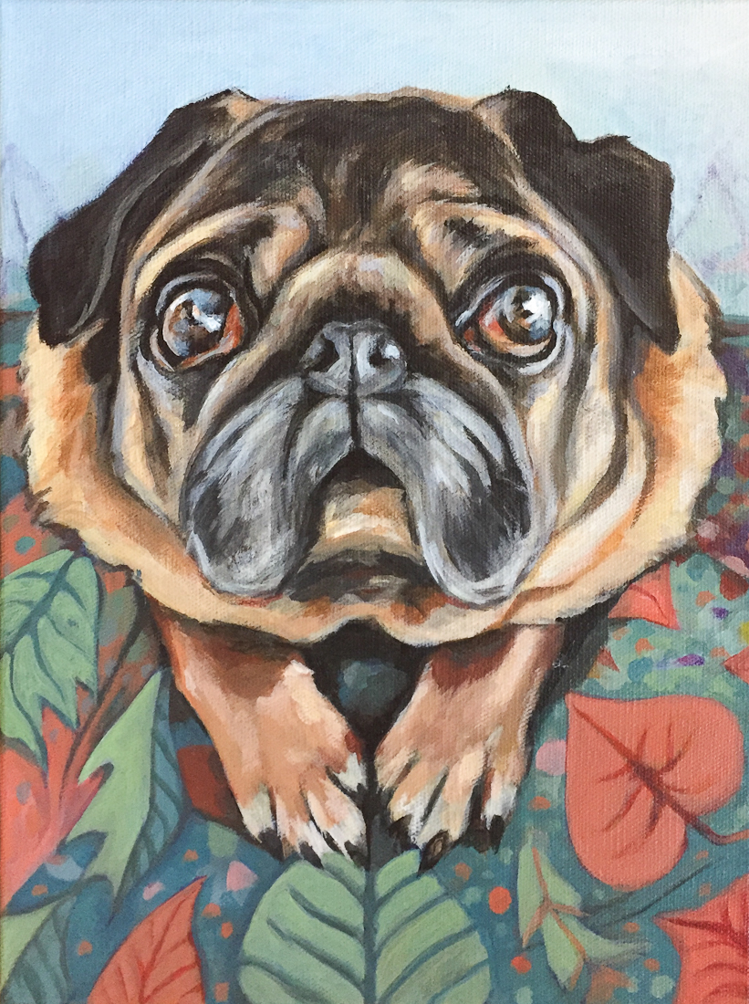 Meatball the pug, acrylic painting