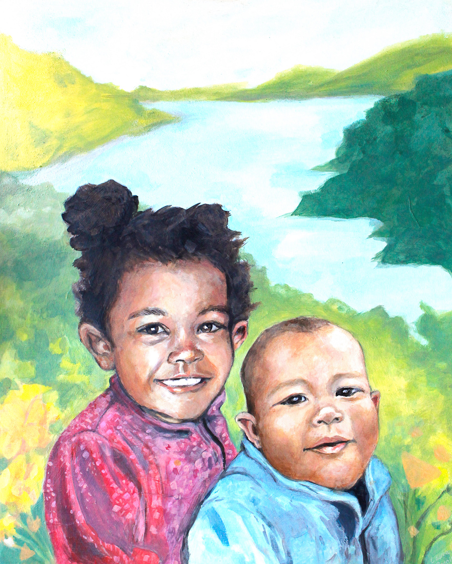 portrait commission of two young children. north park art studio victoria bc