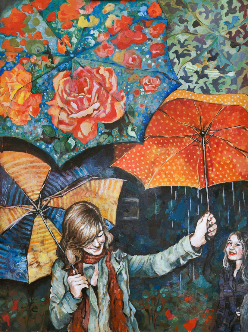 umbrellas, painting by laura bonnie