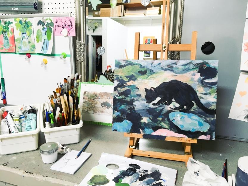 black cat painting in progress