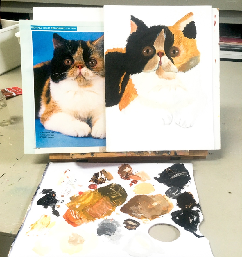 cute cat painting at north park art studio